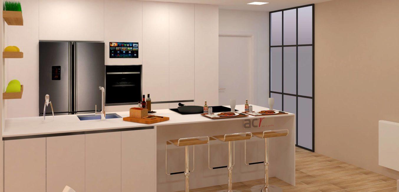 Render cocina ofimatico courña Proyectos interiorismo